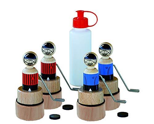 Weykick on Ice Eishockey-Set / Inhalt: 4 Hockeyspieler (je 2 x rot und 2 x blau) mit Führungsmagneten, 4 Pucks und 1 Flakon Puder