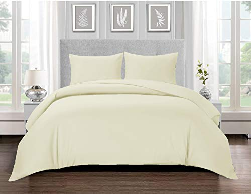 Renoazul Duvet Covers King Size Bedding 100% Combed cotton 200 TC Bed Sheet Mattress Protector Cover - Anti Allergic Durable Bedroom Decor, Pale Lemon