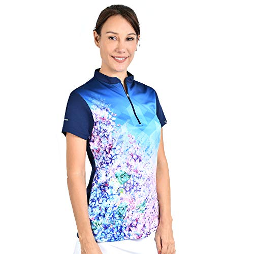 SAVALINO Women's Bowling Shirts, Professional Bowling Jerseys, Ladies Tops S-4XL Navy