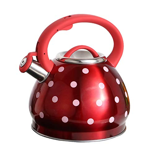 ZCRFYY Kunst Teekessel Induktion Teekanne Kaffeetasse Wasserkocher Rot Kessel Kaffeekanne Nostalgie Thermoskanne,Für Induktions Herd Und Gas Herd, Küche Krug Milchkännchen, 3L Kessel,Rot,3L