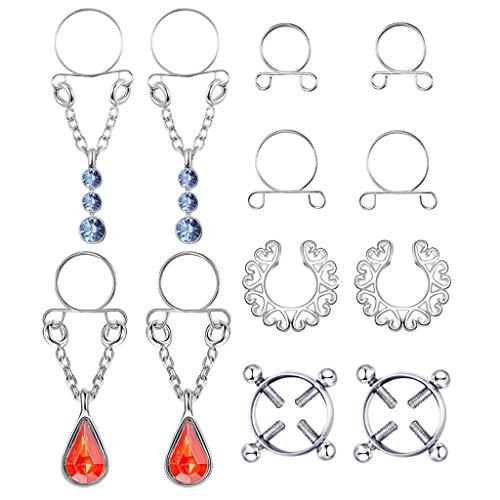 XIANGBEI - 6 pares de pendientes falsificados de acero inoxidable para mujer, sin perforación, con cristales de imitación y clip de rosca, ajustable