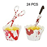 YuBoBo Halloween Cupcake Toppers Wrappers, 24 Pieces Horror Cake...