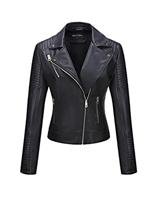 Bellivera Women's Faux Leather Casual Short Jacket?Moto Coat with 2 Zipper Pockets for Spring and Autumn Black Medium