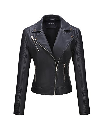 Bellivera Women's Faux Leather Casual Short Jacket, Moto Coat with 2 Zipper Pockets for Spring and Autumn 53 Black L (Apparel)