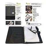 Leicke Cuaderno multifuncional con cargador inalámbrico, banco de energía digital Qi integrado, agenda A5 rellenable, cuaderno inteligente con disco flash USB