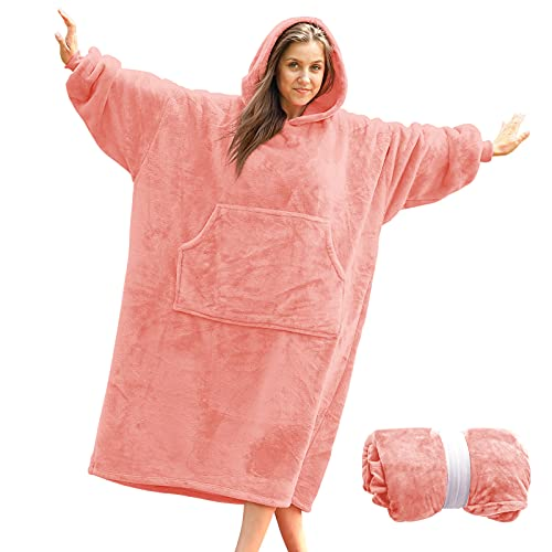 Blanket Sweatshirt Hoodie Blanket, Wearable Blanket Blanket Hoodie for Women, Hooded Blanket Cozy Blanket Women, Super Warm and Oversized Blanket with Sleeves and Giant Pocket (Light Pink)
