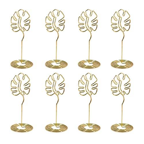 STOBOK 8 piezas de titulares de tarjetas de lugar monstera hojas titulares de números de mesa memo de metal clips de fotos tropicales luau hawaiano decoraciones de fiesta de cumpleaños de boda doradas