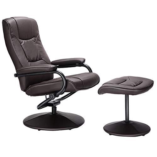 COSTWAY Relaxsessel mit Hocker, Fernsehsessel Leder, Liegesessel Ergonomisch, Relaxstuhl drehbar, Schaukelstuhl 150°Kippbar, TV Sessel Entspannungsstuhl (Braun)