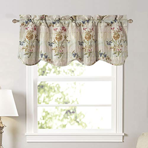 """Enchantment Floral Jacquard Curtain (54"""" Wide by 18"""" Long Scalloped Valance)"""