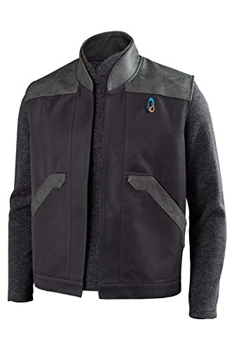 dolass Picard Chaleco para hombre, serie de televisin, disfraz de cosplay de cuero negro