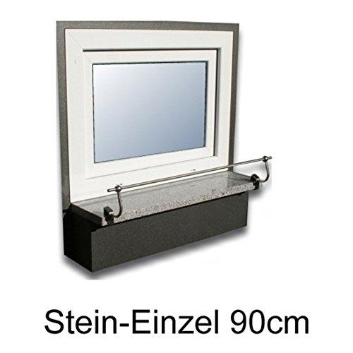 Unbekannt Blumenkasten-Halterung 90 cm, Edelstahl f. Stein-Fensterbänke, Montage ohne Bohren