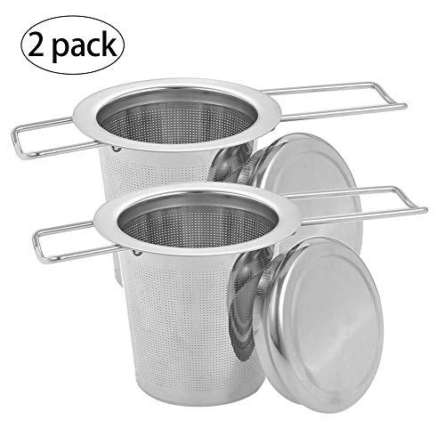 Xinzistar 2 StückTeesiebe Edelstahl Fein Netz für losen Tee, Tee-Ei Teefilter Ball mit Lang Faltbaren Griff Deckel für Teetassen Teekannen Tassen Kanne