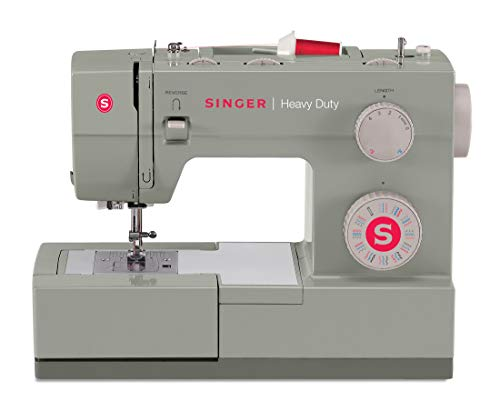 SINGER | Heavy Duty 4452 Sewing Machine with 32 Built-In Stitches, Metal Frame, Built-In Needle Threader, & Heavy Duty Accessory Kit - Sewing Made Easy,Grey