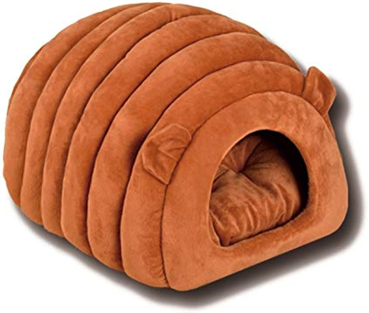 Cat House Dome Type cat Bed Pet Bed Winter cat Dog Too It is Soft Bed Cushion was it Fluffy Cute Sheep Modeling Warm Resting Place (Brown)
