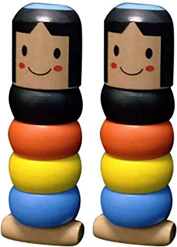 ISAKEN Juguete mágico Indestructible Hombre de Madera, Daruma Inmortales, Juguetes Educativos para Niños de Estilo Japonés, Regalos para Niños (2PCS)