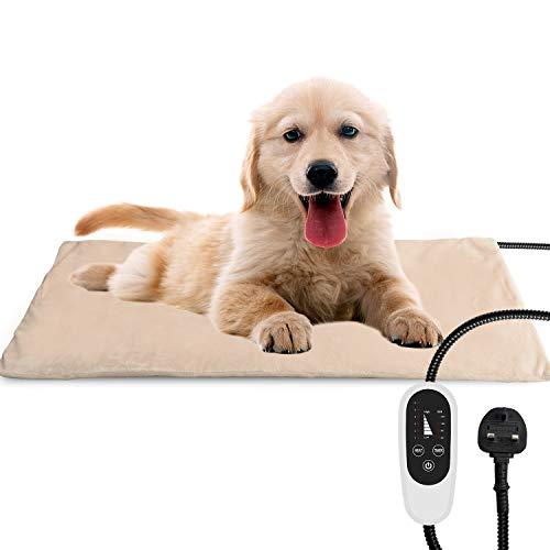 NICREW Haustier Heizkissen für Katze Hund, Temperatur Einstellbar Elektrisches Heizkissen mit Anti-Bite-Schlauchwickel Kabel, 40x70cm