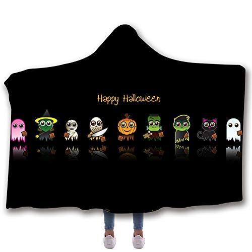 Manta con capucha de Halloween, manta impresa digital en 3D Manta polar de polar ártico doble manta para siesta de oficina,E,130 * 150cm