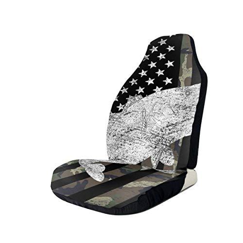 TUCBOA Auto Car Seat Cover,Protector De Asiento De Coche De Pesca De Bajo con Bandera De Camuflaje Verde Camo, Cojín Protector Adecuado para Camión SUV,2pcs,50x135cm