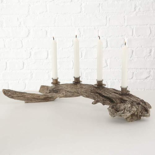 Tamia-Home Adventskranz Kerzenleuchter Kerzenhalter Kerzenständer Oskar Kunst 4-armig dekorativ künstlerisch elegant L62cm Natur