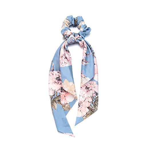 Mädchen Seil für Haare Lange Ribbon Zubehör für Haare Ponytail Scarf Elastische Haarbänder Krawatten mit Haaren Schrauben(Flower print light blue)