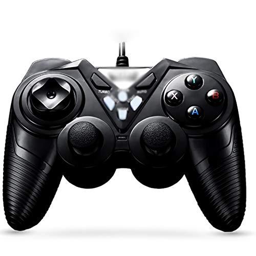 WXLSQ PS3 Manette Câblé Joystick Gamepad Double Vibration Choc Poignée USB De Jeu, avec Turbo & Auto Touches De Fonction, pour Ordinateur/TV / PS3 / Set-Top Box,Noir