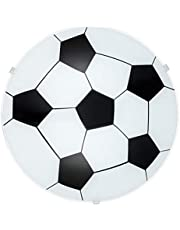 EGLO Plafondlamp Junior 1, 1 lamp kinderkamer voetballamp, wandlamp, plafondlamp van staal, kleur: wit, glas: gesatineerd, fitting: E27