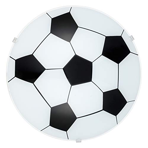 EGLO plafondlamp Junior 1, 1 vlammige kinderkamer voetballamp, wandlamp, plafondlamp van staal, kleur: wit, glas: gesatineerd, fitting: E27
