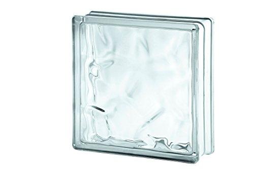Glazen bouwsteen wolk wit 24x24 cm