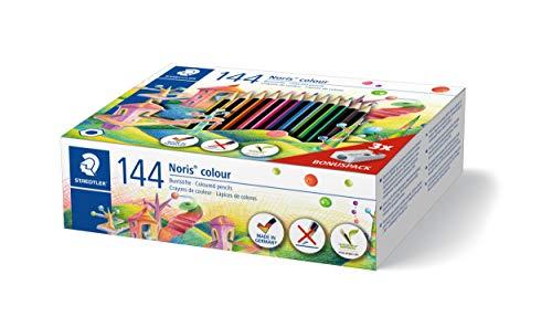 STAEDTLER 185 C144 - Noris Colour Class Pack mit 144 Farbstiften und 3 Spitzer, 12 Farben sortiert