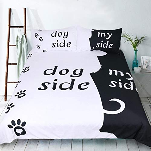 USTIDE Black and White Printed Duvet Cover Super Soft Quilt Cover With Pillowcase Double Size