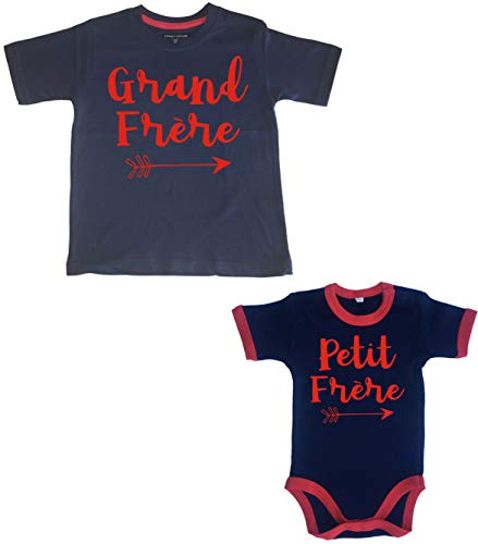 2-3 Years Arrow Grand Frère 3-6 Months Arrow Petite Frère Navy t-Shirt and Navy and Red Trim Bodysuit Red Print