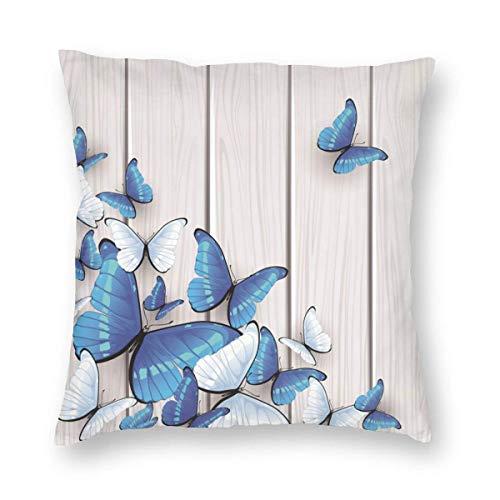 Funda de Almohada Impresa con diseño de Dos Lados, Fondos de Mariposa Azul, Funda de Almohada Cuadrada, Funda de cojín para sofá, decoración del hogar