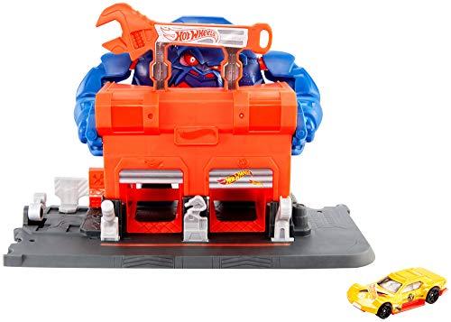 Hot Wheels GJK89 - Gorilla-Angriff Werkstattset Spielset zum Herumschieben und Geschichtenerzählen mit 1 Hot Wheels Fahrzeug, Spielzeug ab 4 Jahren
