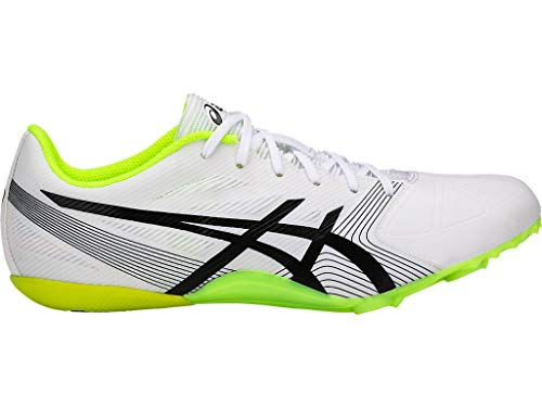 ASICS Men's Hypersprint 6 Track & Field Shoes, 8.5M, White/Black/Safety Yellow