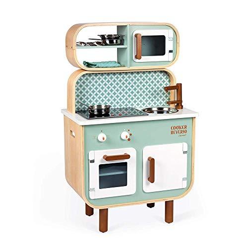 Janod - Cocina de doble cara- Cocina de madera para niños Recto-Verso - Cocina con luz y sonido - Con 7 accesorios - De 3 a 8 años, J06594