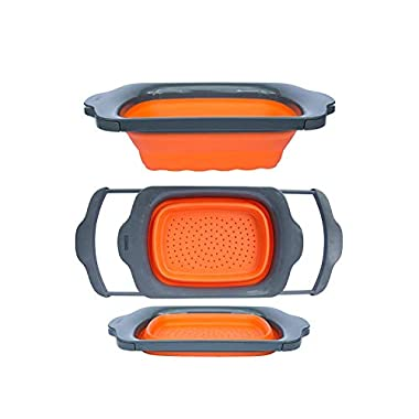 Collapsible Kitchen Colander - Over the Sink Kitchen Strainer By Comfify   6-quart Capacity   Orange & Grey
