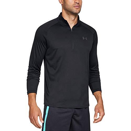 Under Armour Tech 2.0 1/2 Zip, sportliches Longsleeve, schnell trocknendes Langarmshirt für Männer Herren, Black / Charcoal , M