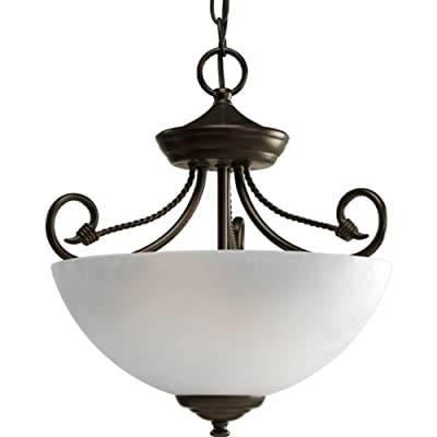 Progress Lighting P3738-20 2-Light Semi-Flush Close-To-Ceiling with Etched Watermark Glass and Twisted Wire Details, Antique Bronze