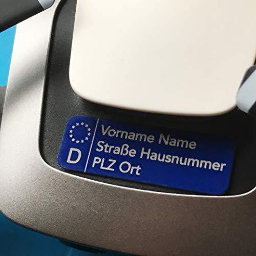 Roboterwerk Fahrzeug-Kennzeichen für Drohnen - optional Gutschein für Plakette mit ab 2021 geforderter e-ID, 30x10mm, Aluminium eloxiert Blau