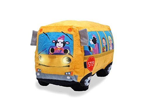 Cuddle Barn | Wheelie 8  School Bus Singing Stuffed Animal Plush Toy | Mouth Moves and Eyes Light Up | Sings Wheels on The Bus