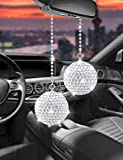 Alotex Bling Car Accessories for Women Pair of Ball 3cm/1.18inch Diameter Hanging Pendant for Rear View Mirror Lucky Car Decoration Interior Ornament Pendant (Pair of White Ball)