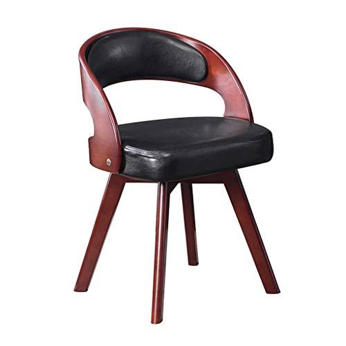 Chaise de salle à manger moderne PU en bois adulte parler chaise vraie mode simple balcon loisirs table et chaises Salle à manger Chaises (Color : Black, Size : 45 * 45 * 73cm)