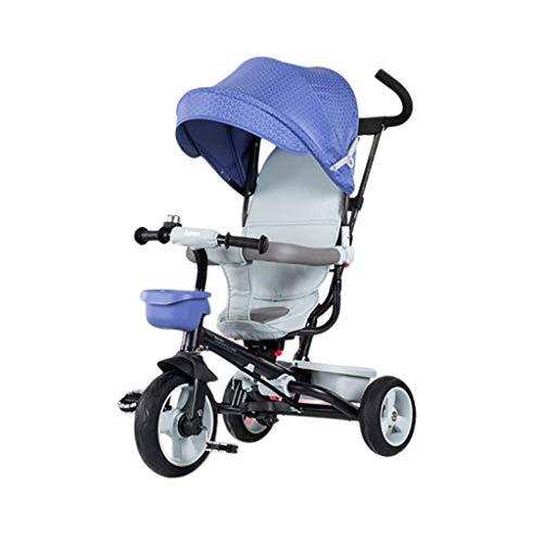Triciclo Triciclo triciclo triciclo triciclo, triciclo para niños multifunción plegable de un solo botón con toldo grande, triciclo al aire libre bebé, 3 colores, 115x93x52cm (color: rosa) (Color: Azu