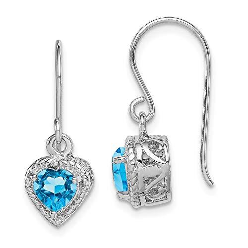 925 Sterling Silver Blue Topaz Small Heart Drop Dangle Chandelier Earrings Love Fine Jewelry For Women Gifts For Her