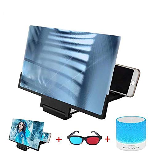 KJRJFD 20in Bildschirmlupe mit 3D-Brille Bluetooth-Lautsprecher, Handy-3D HD Film-Video-Verstärker mit Faltbarer Halter-Standplatz for alle Anderen Smart Phones (Schwarz) (Color : Black)