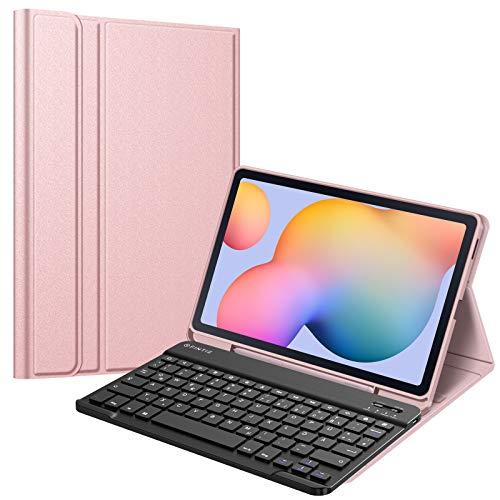 Fintie Tastatur Hülle für Samsung Galaxy Tab S6 Lite 10,4 SM-P610/ P615 2020, Soft TPU Rückseite Gehäuse Schutzhülle mit S Pen Halter, magnetisch Abnehmbarer Tastatur mit QWERTZ Layout, Roségold