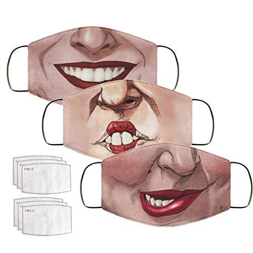 Staresen Erwachsene Multifunktionale Atmungsaktive Bandana Waschbare Mundschutz Lustige Cartoon Bedruckte Halstuch Mit Austauschbaren Filtern Elastische Ohrschlaufe Für Paare Schwestern Brüder