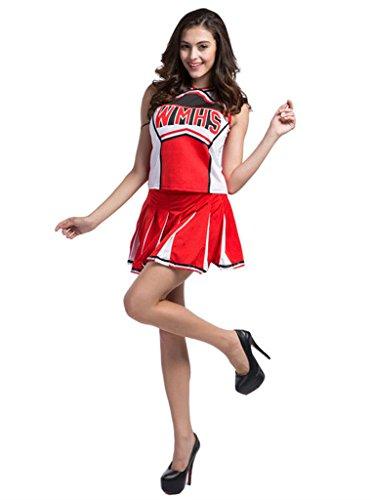 Makroyl Womens Cheerleader Costume Uniform Halloween Fancy Dress Cosplay Costume (Red, US 0-2)