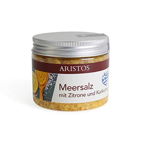 ARISTOS grobes Meersalz für Salzmühle aus Griechenland Zitronensalz Refill | 200 g (Meersalz Zitrone Kurkuma)