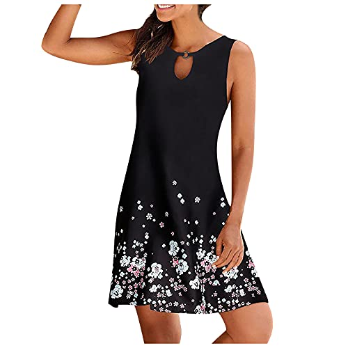 FQZWONG Women's Summer Soild O-neck Hollow Out Sleeveless Loose Skirt Dress for Beach Dating(B-White,3X-Large)